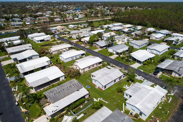 Mobile homes destroyed after Hurricane Irma in Naples Florida USA