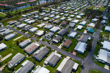 Trailer park aftermath Hurricane Irma Naples FL, USA