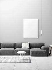 living room concept with mock up poster on gray wall, 3d illustration
