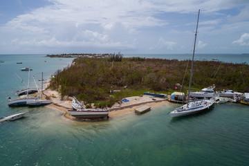 Sunken vessels after Hurricane Irma