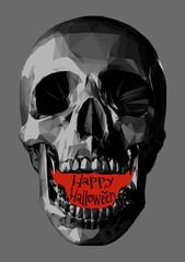 Skull illustration with red space text BG for halloween