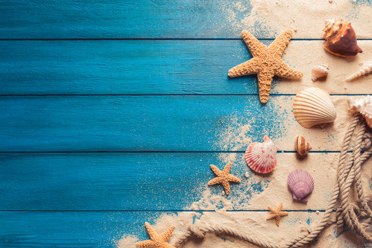 beach scene concept with sea shells and starfish on a blue wooden background
