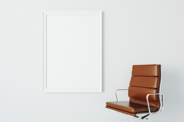 3d armchair and blank white frame canvas