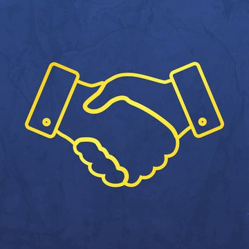 thin line handshake icon on a blue  paper layer