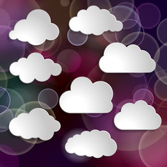 collection of clouds on a blurred glitter purple background