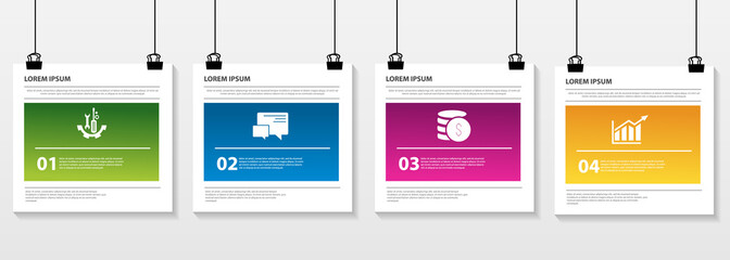 Vector illustration. Infographic pattern on a suspended sheet of paper. 3d style with three steps. Used for business presentations, education, web design. Place for text and icons