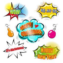 A set of cute speech bubbles with Christmas decoration pop art comic style