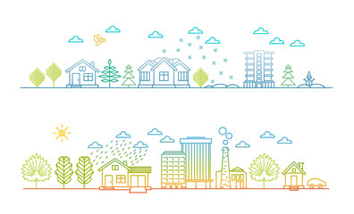 Linear style - city illustration, cityscape at Christmas and in summer day