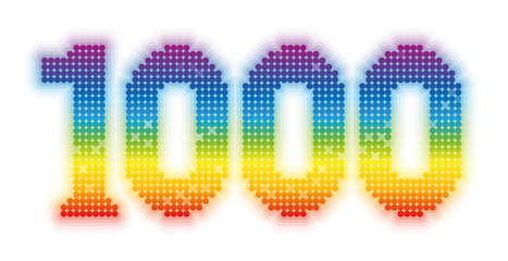 THOUSAND - exactly one thousand counted rainbow colored glossy, shimmering, gleaming platelets - illustration on white background.