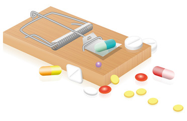 Mouse trap with pills as dangerous, bait for consumers of medicine - isolated vector illustration on white background.