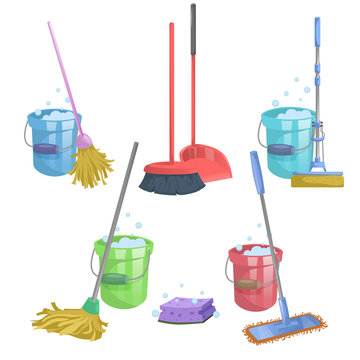 Cartoon house and apartment cleaning service icon set. Mops with bucket with washing liquid.  Modern plastic dry mop old mop, squeeze mop, dustpan, dust brush.