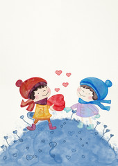 Happy Valentine's Day. Watercolor greeting card