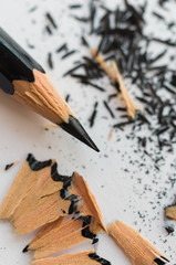Pointed pencil and shavings