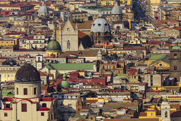 Fotobehang Napels Italy. Historic Centre of Naples (UNESCO World Heritage Site) seen from Castle Sant'Elmo. There are cupolas of some churches located along the Tribunali street (incl. the facade of Naples Cathedral)