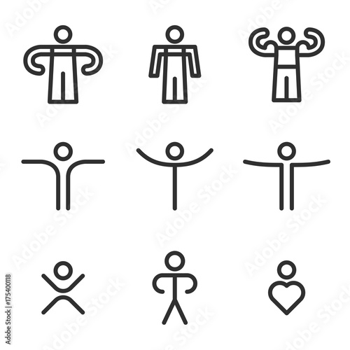 human outline icons set collection icons for application web