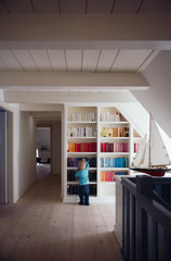 Boy in front of colorful bookcase