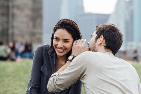 Affectionate couple enjoying together outdoors