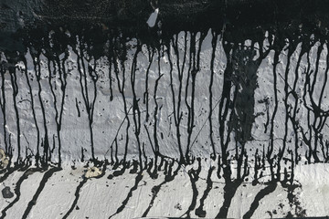 Silver Paint and Tar Smudges and Drips as Background Texture for Urban Copy and Overlay
