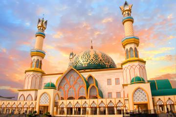 Habbul Wathan Mosque, Islamic Centre of West Nusa Tenggara, Mataram, Lombok, Indonesia at sunset Wall mural
