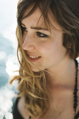 Happy young blonde woman portrait