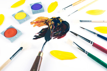 Multicolor oil paint brush strokes with knife.
