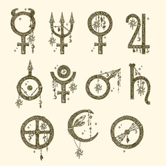 Symbols of the planets. Beautiful boho set, eleven elements. Vintage. Vector illustration.