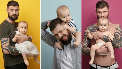 Collage of tattooed man with baby