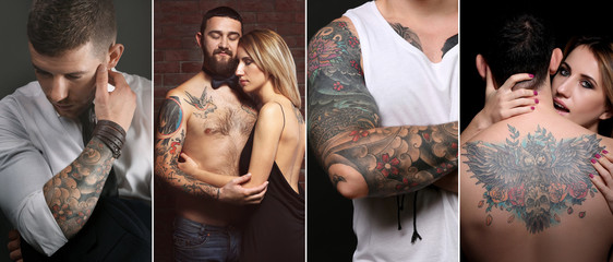 Collage with stylish tattooed people
