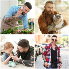 Collage with stylish tattooed men