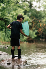 A young boy trying to catch fish with a net in a creek