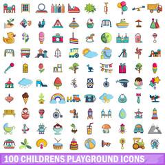 100 childrens playground icons set, cartoon style
