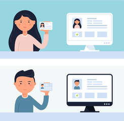 People Holding up ID Cards. Account Verification Vector Illustration
