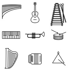 Vector Illustration of Thin Line Icons for Musical Instruments. Editable Line. Collection 26. Linear Symbols Set: Flute, Guitar, Metalophone, Piano Keyboard, Trumpet, Drum, Harp, Bayan, Triangle.
