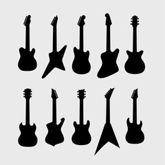 Black silhouette of electric guitars