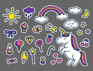 Set of stickers in cartoon doodle