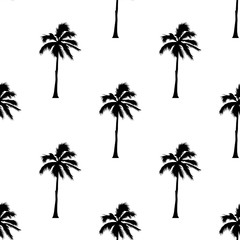 Palm tree pattern seamless texture on white background for any web design or textile. Vector Illustration
