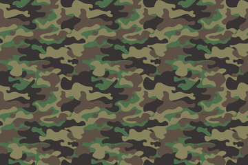 Camouflage seamless pattern background. Horizontal seamless banner. Classic clothing style masking camo repeat print. Green brown black olive colors forest texture. Design element. Vector illustration