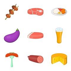 Meat on stick icons set, cartoon style