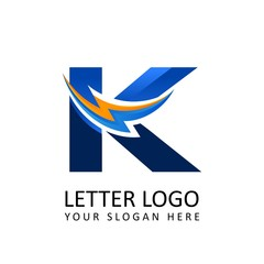 Letter k ELECTRICAL Alphabet Logo