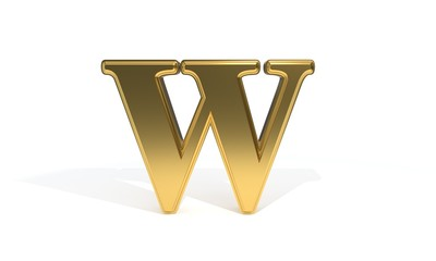 W gold colored alphabet, 3d rendering