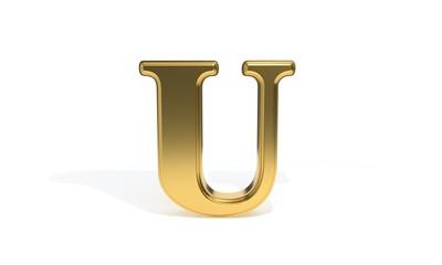 U gold colored alphabet, 3d rendering
