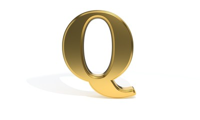 Q gold colored alphabet, 3d rendering