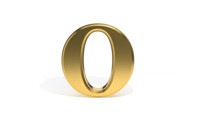 O gold colored alphabet, 3d rendering