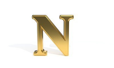 N gold colored alphabet, 3d rendering