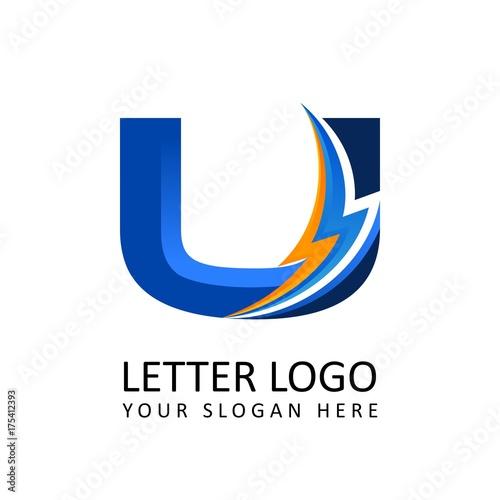 Letter U Electrical Alphabet Logo Stock Image And Royalty Free