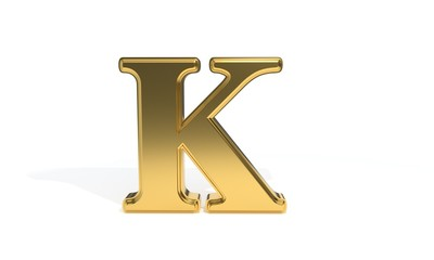K gold colored alphabet, 3d rendering