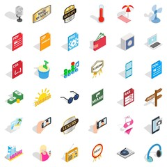 Music note icons set, isometric style