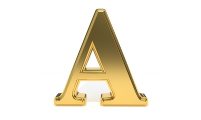 A gold colored alphabet, 3d rendering