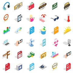 Headphones icons set, isometric style
