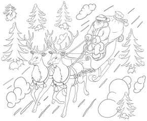Santa on a sleigh rushes in the middle of a winter forest with Christmas trees and snowdrifts.